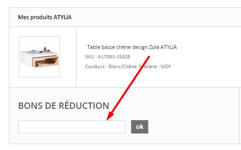 ajouter votre code promo atylia