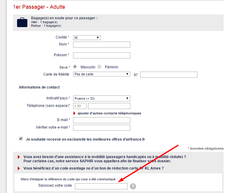 comment utiliser un code promo air france